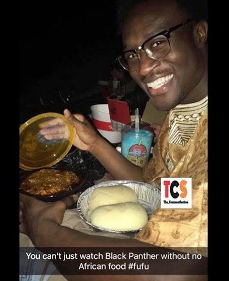Nigerian man goes to Cinema with fufu & Soup to watch 'Black Panther' Movie