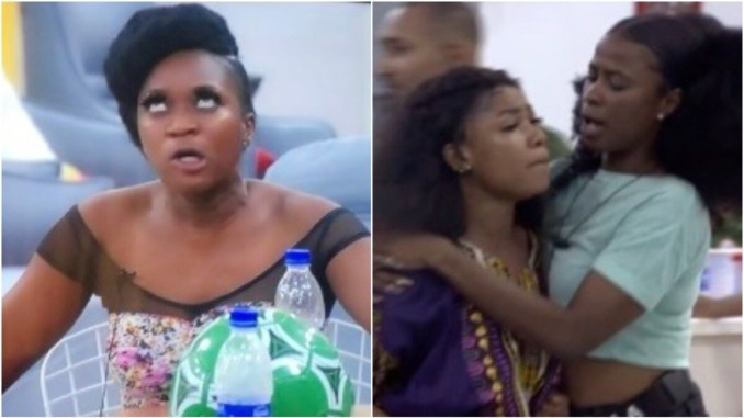 #BBNaija2019 : Tacha and Thelma fight dirty over food on third day [VIDEO]