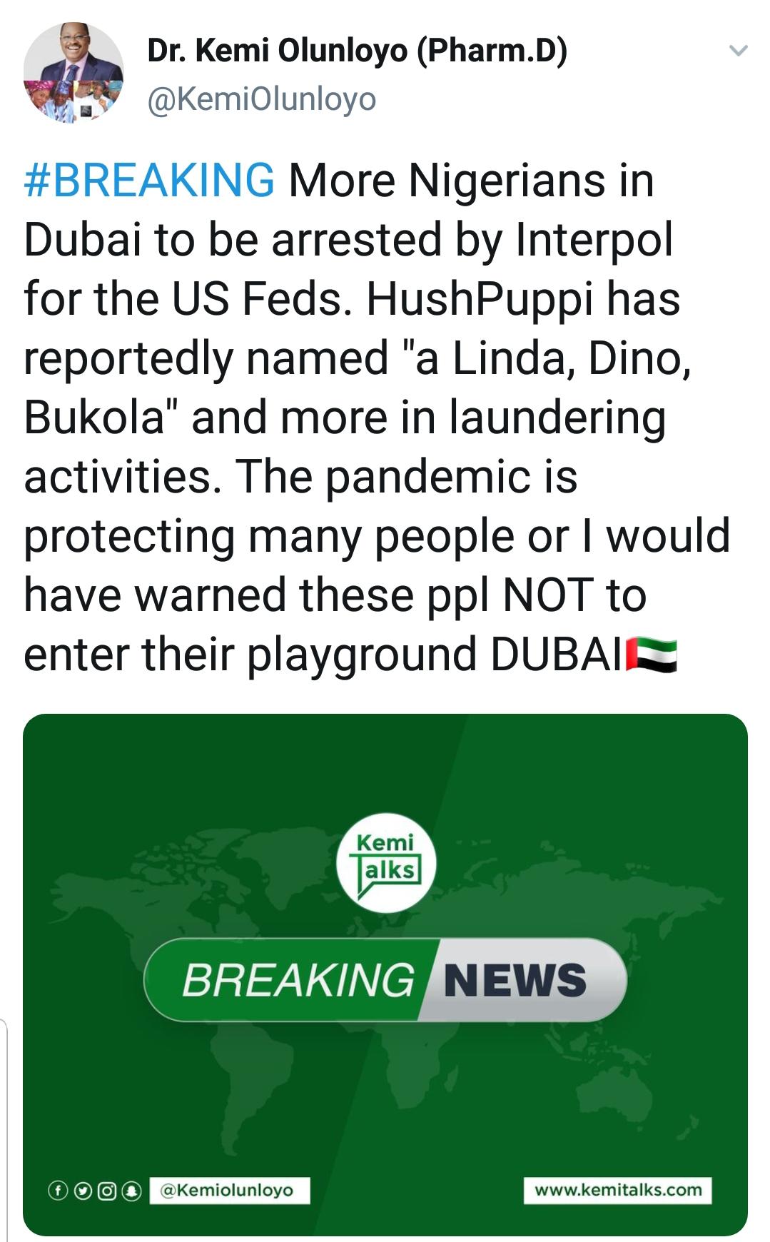 HushPuppi reportedly named Linda, Dino
