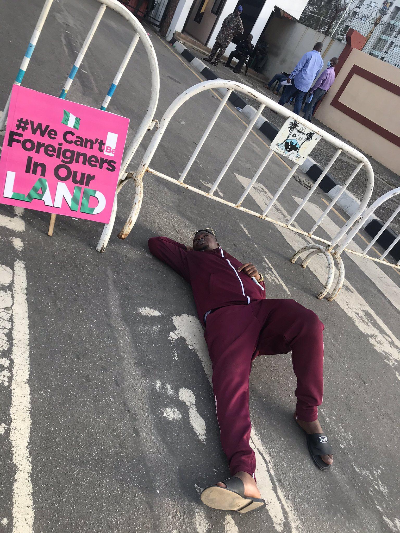Mr Macaroni at Lagos state government gate