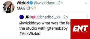 See What Wizkid Tells Fan Who Asked Him How It Felt Being In The Same Studio With Tems.