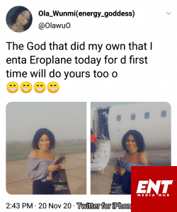 Pretty Lady Celebrates As She Travel With An Airplane For The First Time.