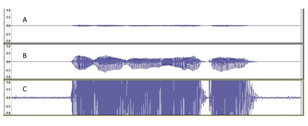 """Recordings of the sentence """"We were away a year ago"""" at three different recording levels. In sound wave A, the recording level was too low, resulting in a signal that has a weak signal-to-noise ratio"""