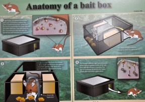 A poster at the Tick Box Technology Corporation booth. These guys make a trap for white-footed mice and other rodents that play a role in the spread of Lyme disease. Rodents go in, get pesticide applied to them, and the ticks die, reducing the spread of the disease.
