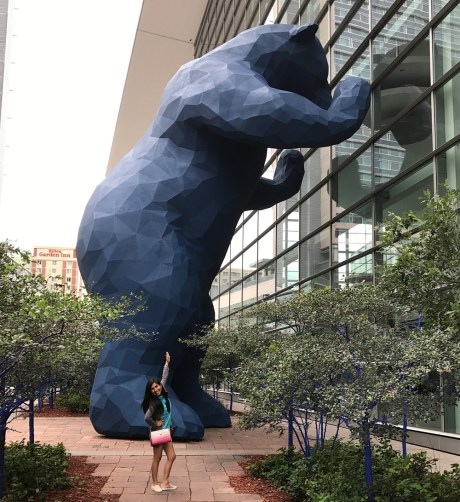 Lina Bernaola and Big Blue Bear
