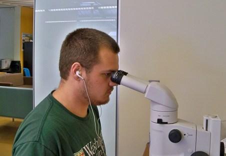 Thomas Van Horn at microscope