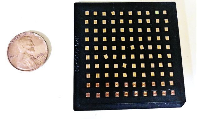 100 RFID tags next to a penny