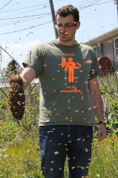 "Jacob Bova wearing ""Relax. I'm an Entomologist"" t-shirt"
