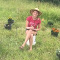 Emily Erickson observing pollinators