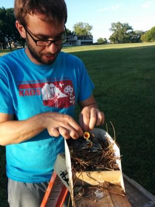 Jackson Helms with bird nest