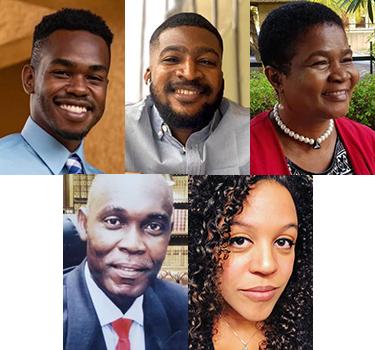 Gavin Campbell, Rhema Uche-Dike, Kehinde Kemabonta, Ph.D., Sylvester Ogbogu, Ph.D., and Jessica Ware, Ph.D.