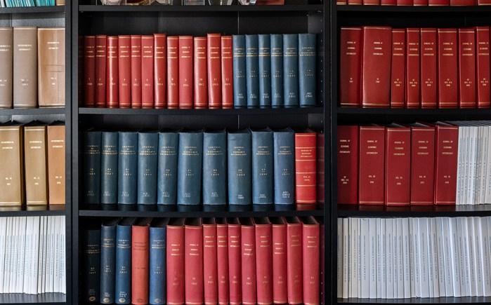 journals on shelves