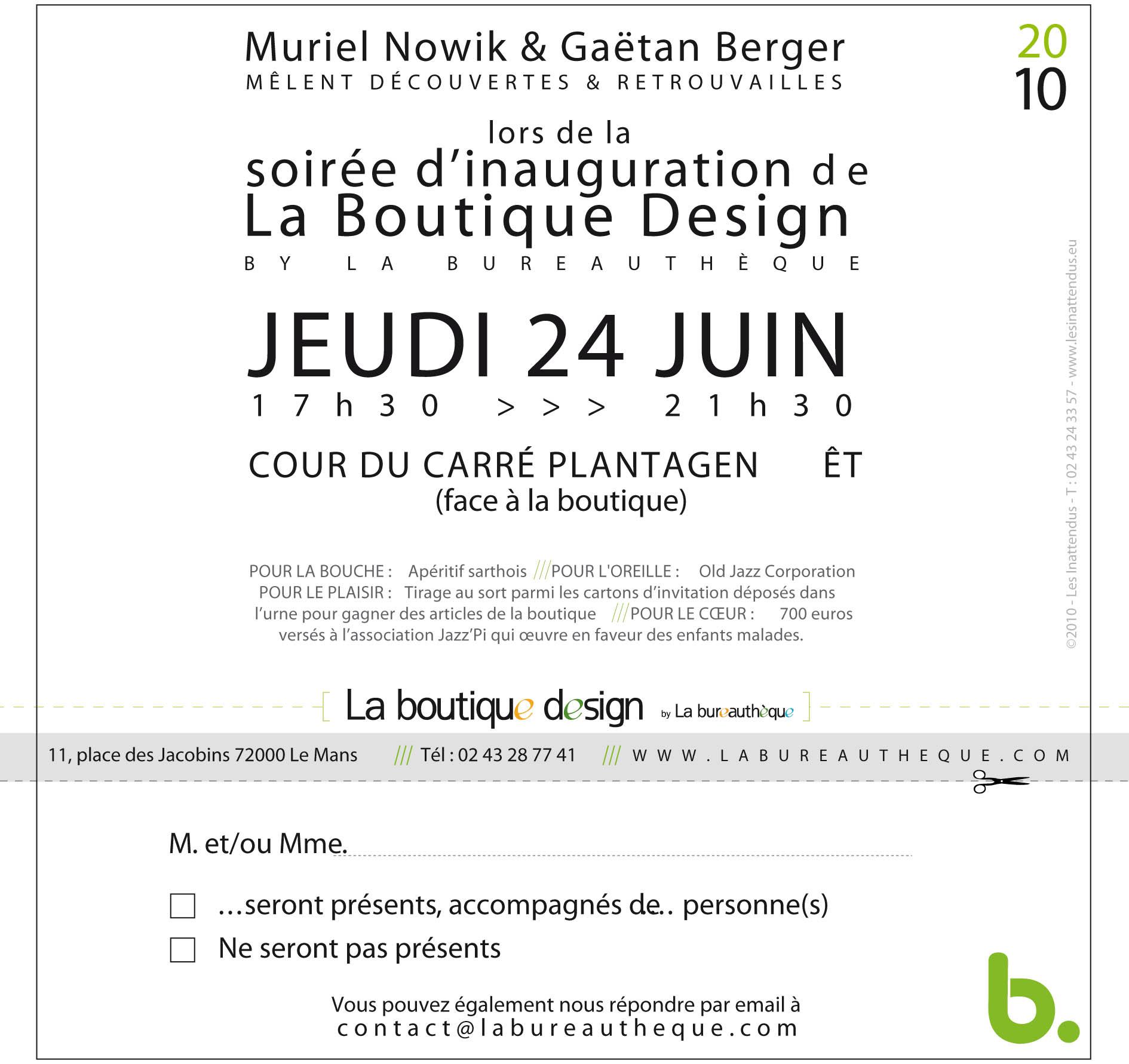 invitation inauguration de la boutique