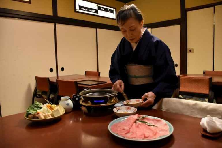 Restaurante de sukiyaki en Tokio