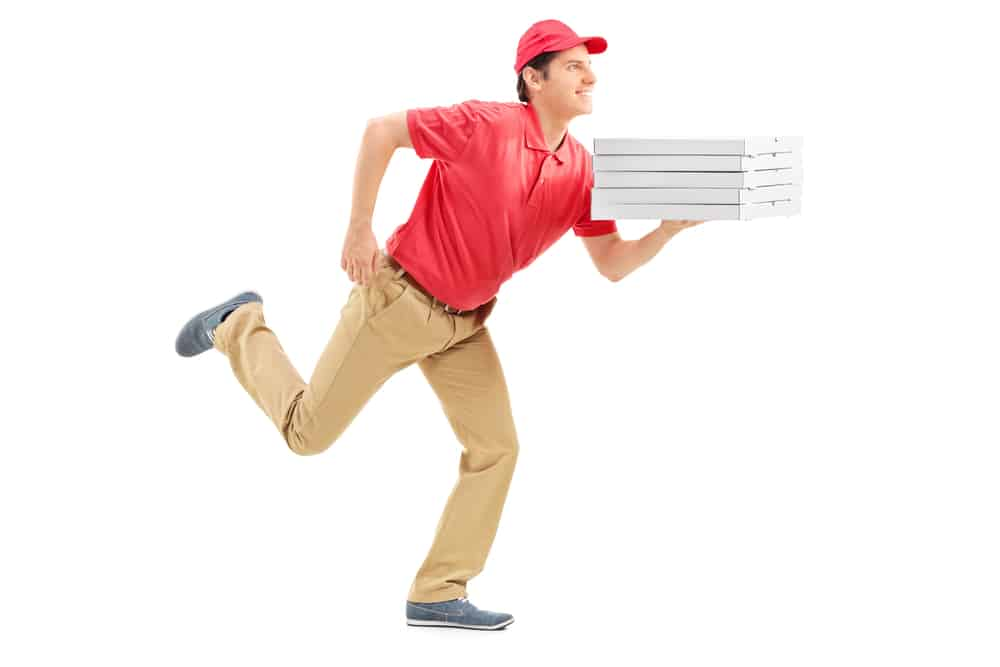 Picture of a guy holding pizza boxes. In our story we are calling him Abo.