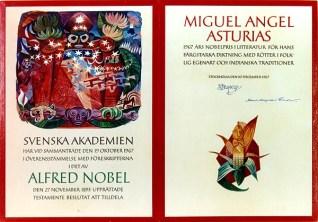 Asturias recibiendo el Premio Nobel y una imagen del diploma. (Foto: FHMAA)