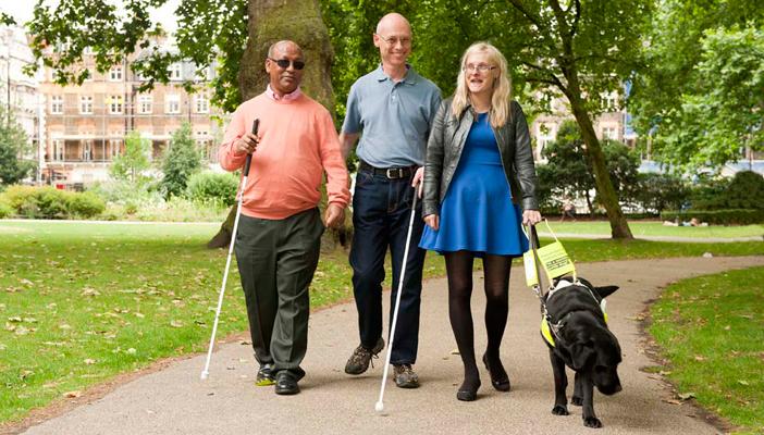Três pessoas caminham por um local com árvores ao fundo. À esquerda, homem negro de óculos escuros e bengala. No meio, homem branco, alto, com óculos de grau. À direita mulher loira com óculos de grau. Com a mão esquerda segura a guia de um cão preto.