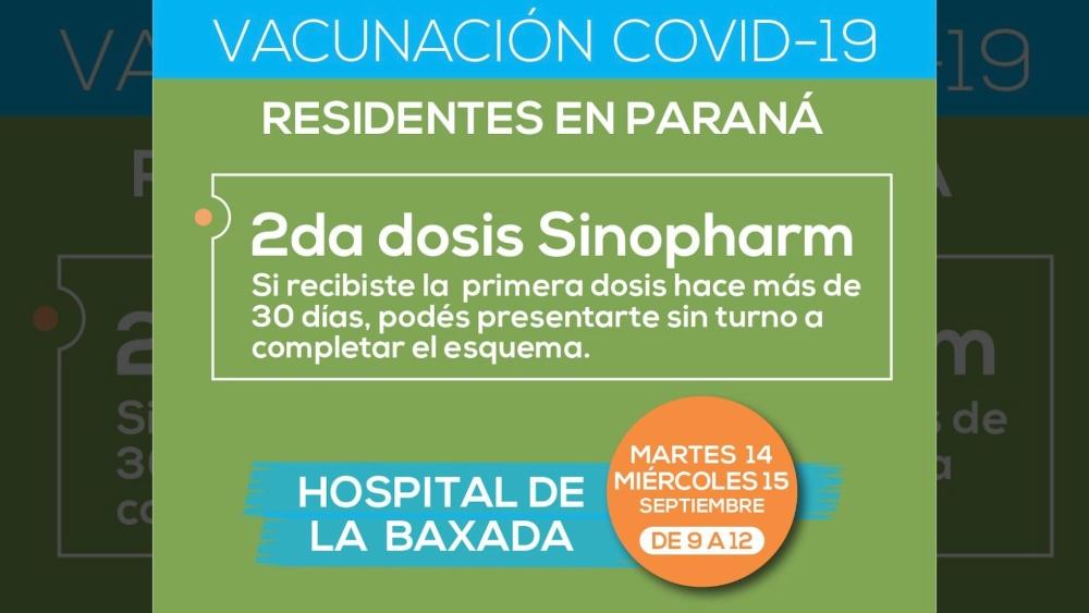 En el Hospital de la Baxada habrá dos días para completar vacunación con Sinopharm sin turno. Las jornadas abiertas serán martes y miércoles.