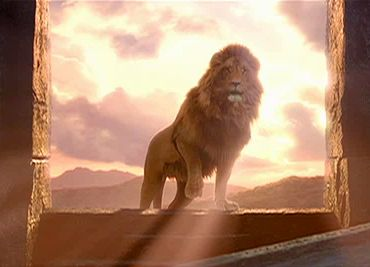 Aslan, like Christ, breaks the curse of the Law (Sharia).