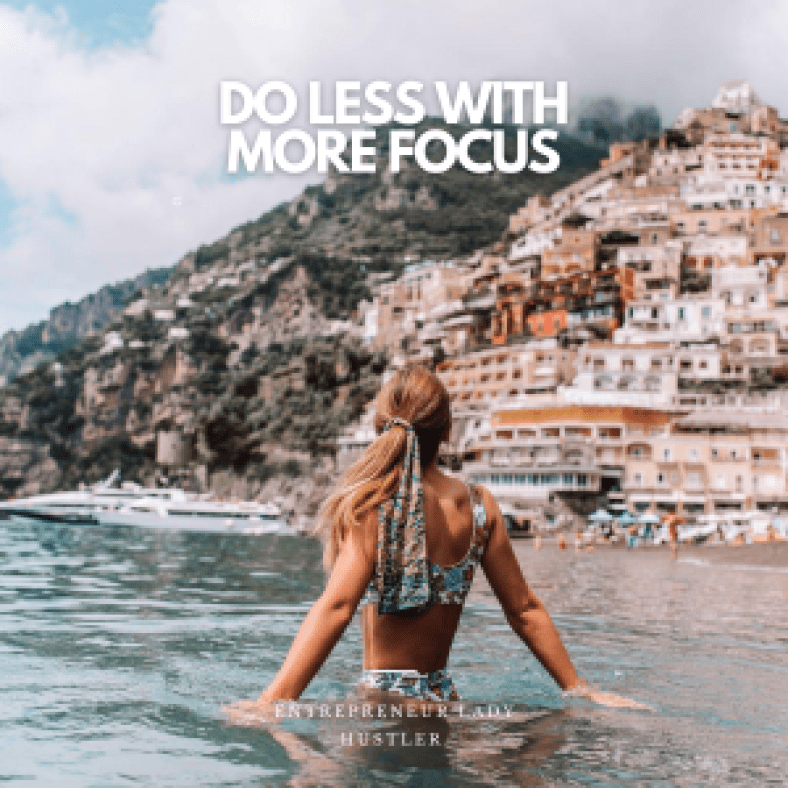 Do less with more focus. Girl focus on the view in italy
