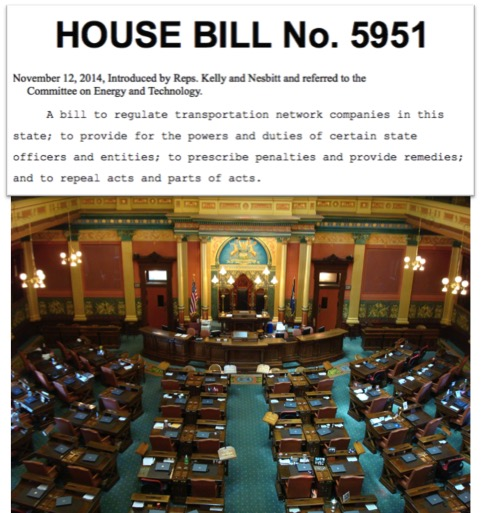 The Michigan House of Representatives will vote on HB 5951 which would implement state regulations largely consistent with Uber and Lyft's existing practices.