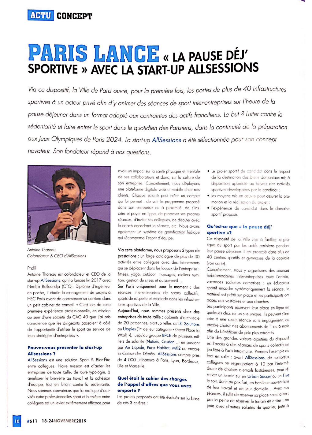Sport Stratégies interview Antoine Thoreau CEO AllSessions