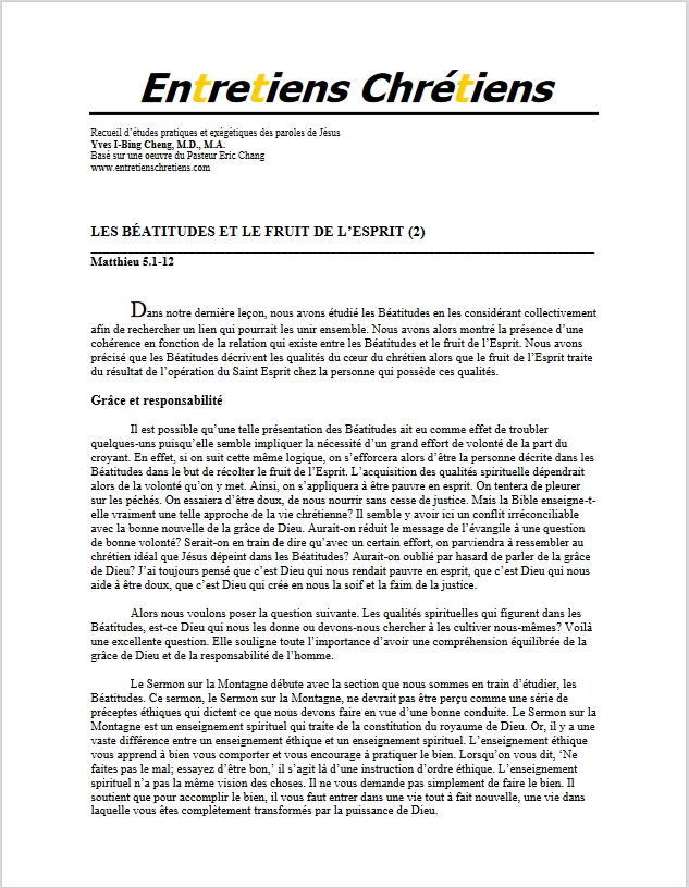 Recueil 022 - Les Béatitudes et le fruit de l'Esprit (2)