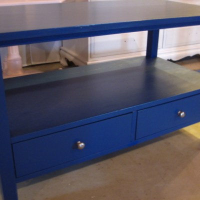TV Table Update – Tired Brown to Cheery Blue