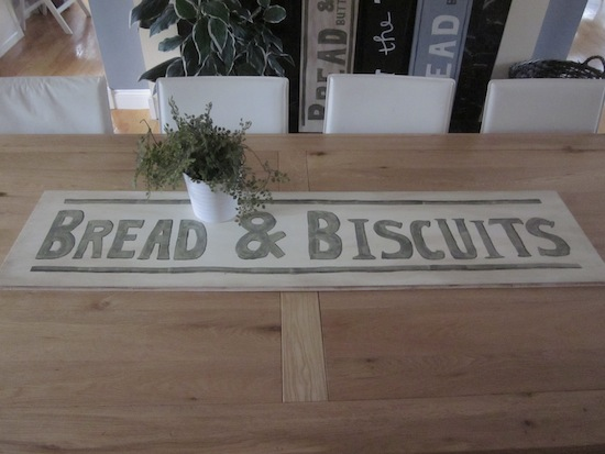 Bread & Biscuits wood table runner sign