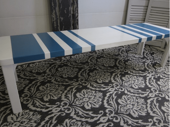 turquoise and white bench