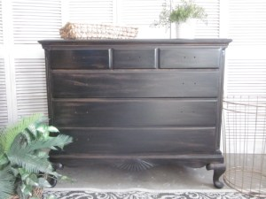 antique black stained dresser