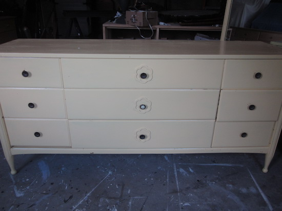 long yellow dresser