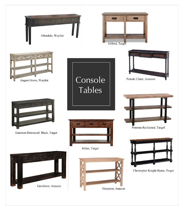 Sofa Console Table options