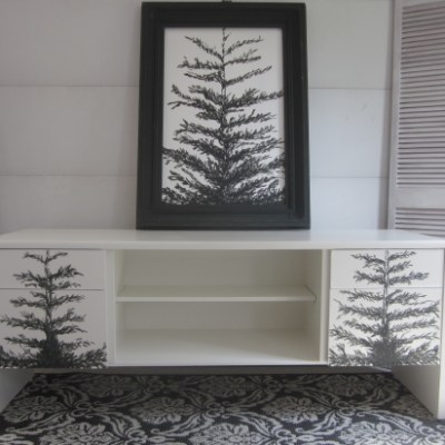 China White Credenza With Hand-Painted Pine Trees