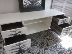 credenza white with trees