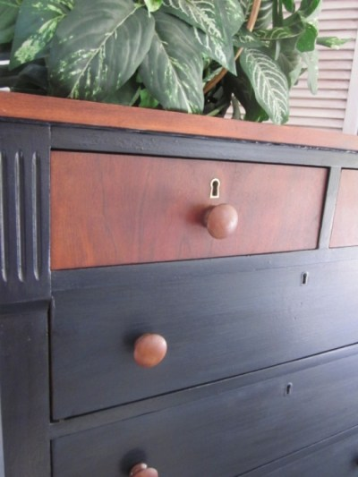 Navy blue Dresser with English Chestnut stained top