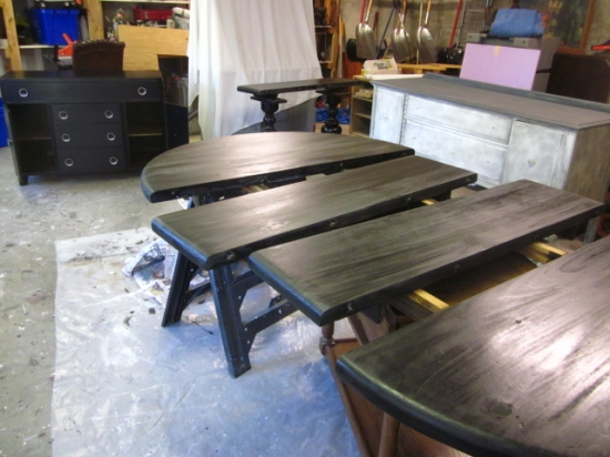 Luxury Oval dining table black stain