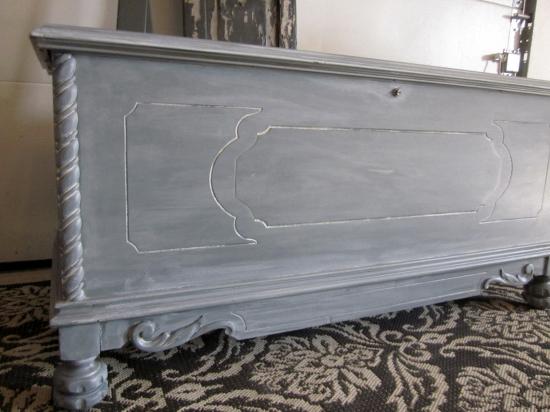 White-washed storage bench