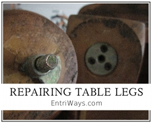 Repair table legs when metal hardware cracks