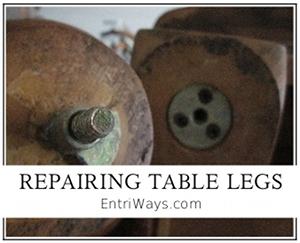 Repair table legs when metal hardware cracks