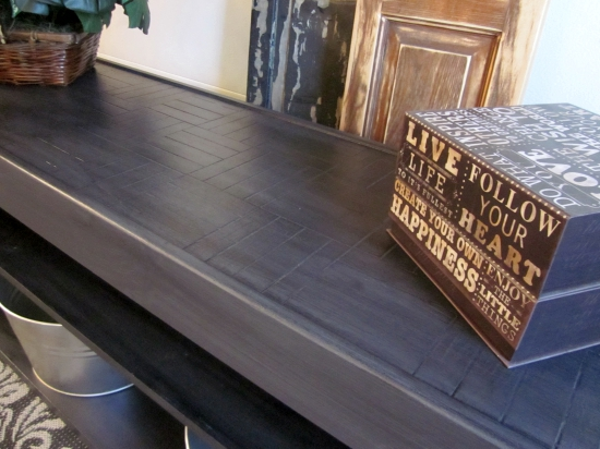 refinish wood to look like brushed steel