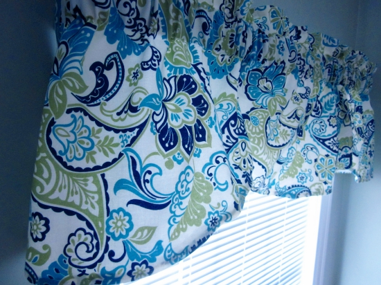 window valance, blue and green