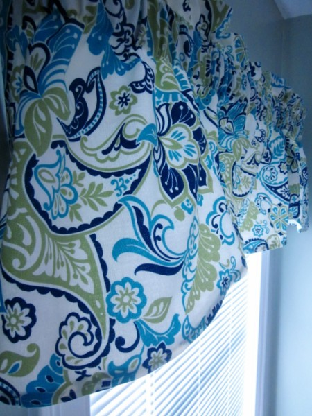 green and blue paisley valance