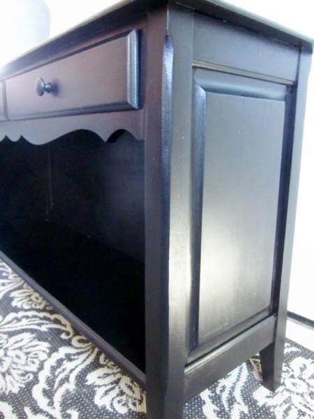 black sofa table, black enamel paint