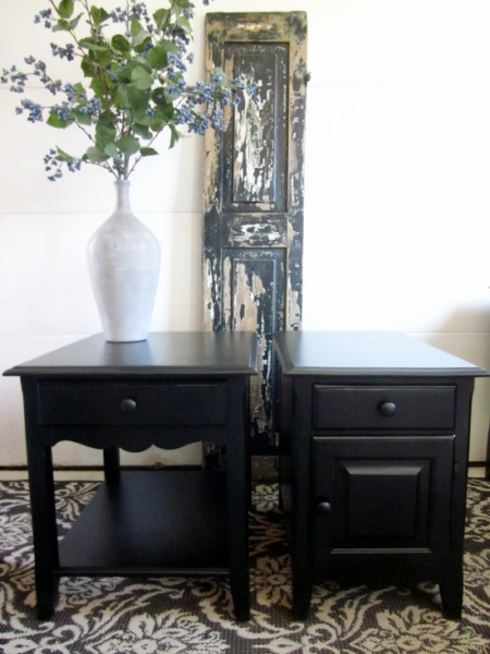 Black enamel paint on end tables
