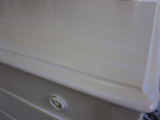white glaze over yellow dresser