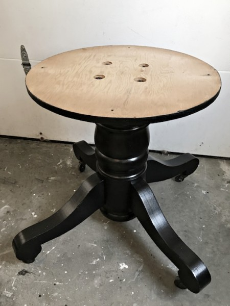 Gray table, black base dining table