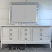 Dixie Dresser, Long white mcm dresseer with silver pulls
