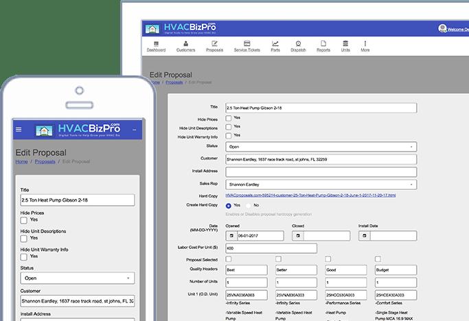 HVAC BizPro Proposal Tab