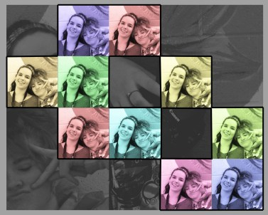 For this grid, I used the same photo to create a non-symmetrical arrangement. I made the tiles colorful and composited the background by taking different pieces of the same photo and placing them behind the colored ones, then making them black and white to make the colored ones stand out. I am pleased with the end result.